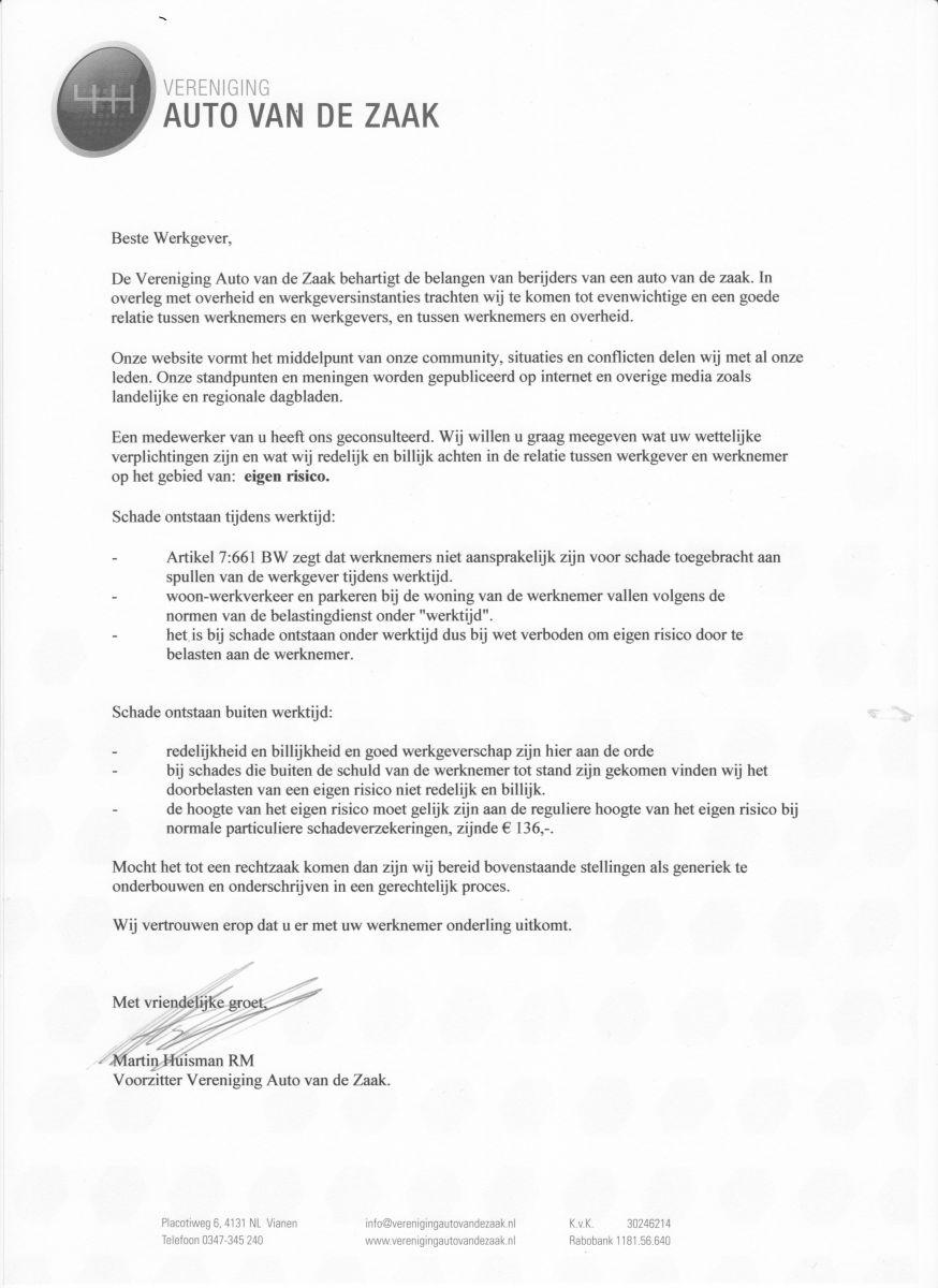 voorbeeldbrief schademelding Leaseauto inleveren   schade met eigen risico. Betalen?   Verkeer  voorbeeldbrief schademelding
